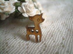 画像1: K61*13mm*バンビのウッドボタン(1)